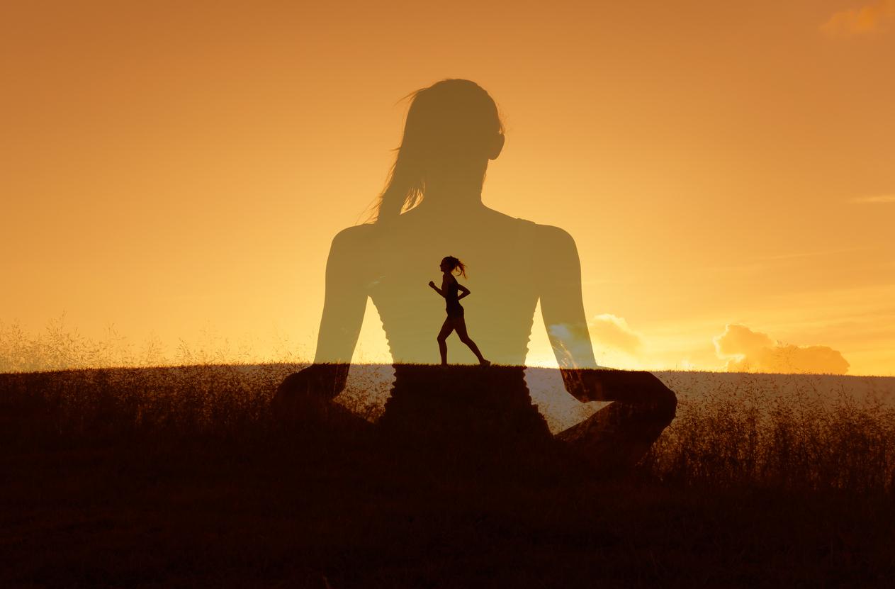 Woman running and meditating
