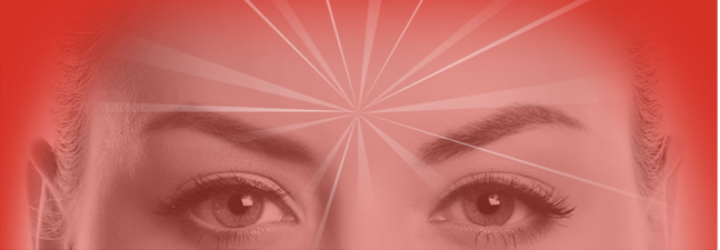 Woman's face with shining soul in center of forehead